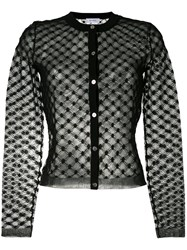 Carven Mesh Panel Cardigan Women Cotton Nylon Polyester L Black