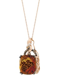 Le Vian Quartz 13 1 2 Ct. T.W. And Diamond 1 6 Ct. T.W. Pendant Necklace In 14K Rose Gold Brown