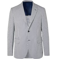 Massimo Piombo Mp Andy Slim Fit Striped Stretch Cotton Seersucker Blazer Blue