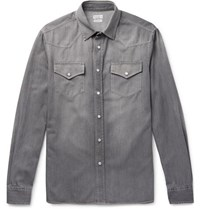 Brunello Cucinelli Washed Denim Western Shirt Gray