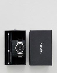 Accurist Silver Bracelet Watch And Pen Gift Set