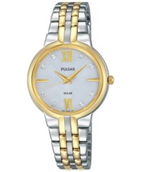 Pulsar Women's Solar Two Tone Stainless Steel Bracelet Watch 29Mm Py5024 Two Tone