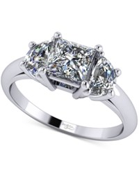 Macy's Diamond Ring Mount 3 8 Ct. T.W. With Half Moon Accents In 14K White Gold .5 Princess