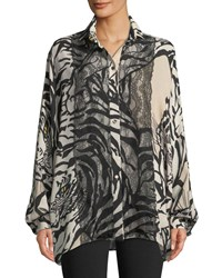 Valentino Long Sleeve Button Front Tiger Print Georgette Blouse W Lace Detail Beige