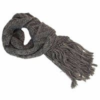 40 Colori Grey Double Threaded Hand Fringed Wool Scarf
