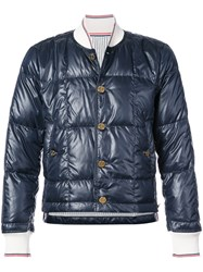 Thom Browne Buttoned Down Jacket Blue