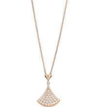 Bulgari Diva 18Ct Pink Gold Necklace With Pave Diamonds