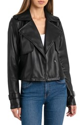 Bagatelle Faux Leather Moto Jacket Black