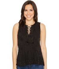 Lucky Brand Washed Studded Tank Top Black Women's Sleeveless Multi