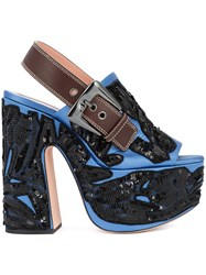 Rochas Embellished Sandals Women Leather Satin Sequin 39 Blue