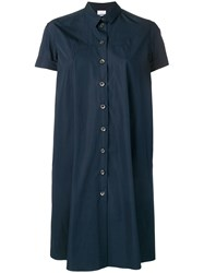 Aspesi Short Sleeved Shirt Dress Blue