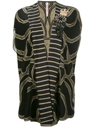 Antonio Marras Floral Embroidered Cardigan Women Polyester Viscose L Black