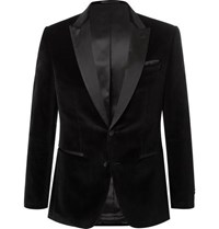 Hugo Boss Black Helward Slim Fit Satin Trimmed Cotton Velvet Tuxedo Jacket