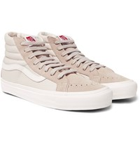 Vans Og Sk8 Hi Lx Leather Trimmed Suede And Canvas High Top Sneakers Gray