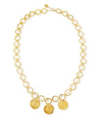 Devon Leigh Long Swirl Coin Charm Necklace Gold