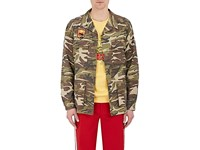 Andersson Bell Men's Camouflage Cotton Appliqued Field Jacket Dark Green