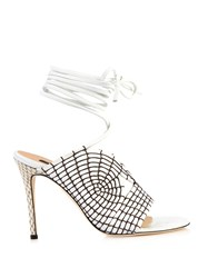 Chrissie Morris Rosemary Lace Up Leather Sandals White Multi