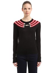 Sonia Rykiel Intarsia Logo Silk And Cotton Sweater Black