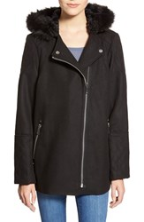 Junior Women's Celebrity Pink Hooded Faux Fur Trim Coat Jet Black