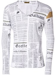 John Galliano Vintage Newspaper Print Top White