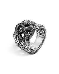 John Hardy Classic Chain Silver Lava Band Woven Braided Ring With Black Sapphire Bloomingdale's Exclusive Silver Black