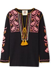 Figue Zoe Embroidered Cotton Gauze Top Black