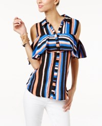 Ny Collection Striped Ruffled Cold Shoulder Top Cobalt Waterline Stripe