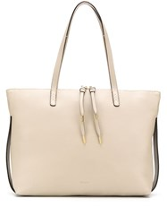 Bally Pebbled Leather Tote Bag Neutrals