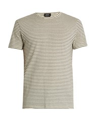 A.P.C. Paul Stripe Print Cotton T Shirt Beige Stripe