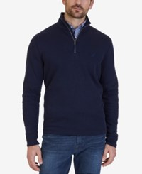 Nautica Men's Quarter Zip Pullover Sweater Navy