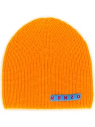 Kenzo Logo Patch Knitted Beanie Orange