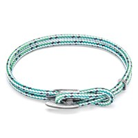 Anchor And Crew Padstow Rope Silver Braceletgreen Dash 17Cm