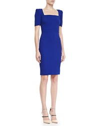 Roland Mouret Parabia Square Neck Peaked Shoulder Dress Electric Blue