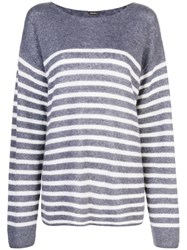 Adam By Adam Lippes Oversized Striped Sweater Blue