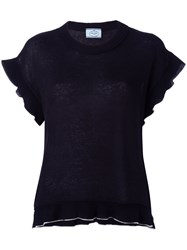 Carven Pleated Trim Top Blue