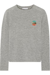Bella Freud Lion Intarsia Wool And Cashmere Blend Sweater Gray