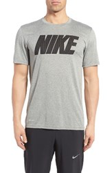 Nike Men's 'Legend' Mesh Graphic Training T Shirt Dark Grey Heather Black