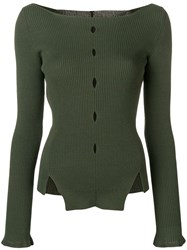 Eudon Choi Cut Out Detail Knitted Top Green