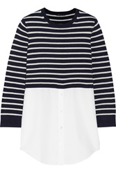 Theory Cotton Paneled Striped Cotton And Cashmere Blend Top Blue