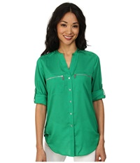 Calvin Klein Zipper Roll Poly Cdc Sleeve Grass Women's Blouse Green