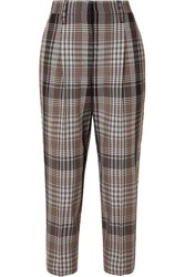 Brunello Cucinelli Cropped Plaid Wool Tapered Pants Brown