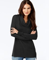 Inc International Concepts Waffle Knit Cowl Neck Tunic Only At Macy's Deep Black