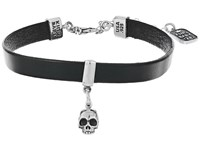 King Baby Studio Leather Choker W Hamlet Skull Black Silver