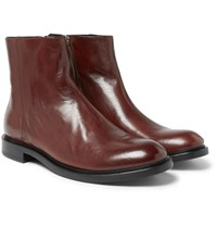 Paul Smith Sullivan Polished Leather Boots Red