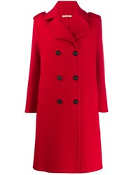 Massimo Alba Double Breasted Buttoned Coat Red