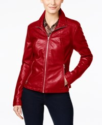 Kenneth Cole Faux Leather Moto Jacket Lipstick Red