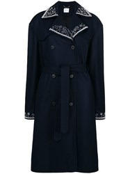 Magda Butrym Double Breasted Trench Coat Blue