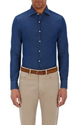 Isaia Men's Twill Button Front Shirt Blue