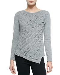 Lafayette 148 New York Crochet Asymmetric Cashmere Sweater Small
