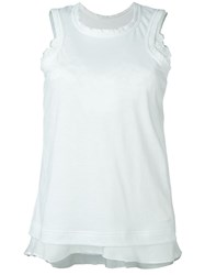 Sacai Tank Top With Floral Lace White